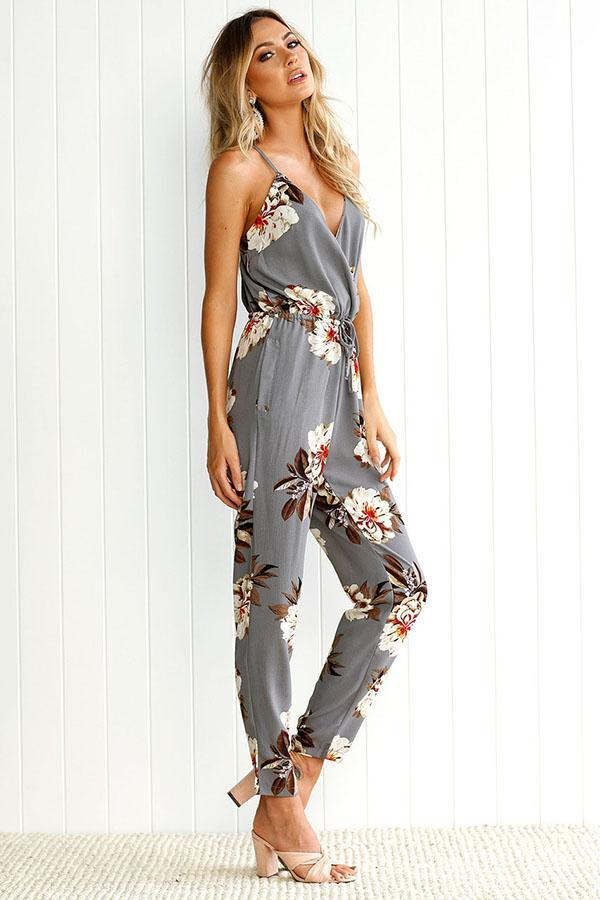 Women  Sexy Deep V Floral Strap Crossed Sleeveless Backless Romper