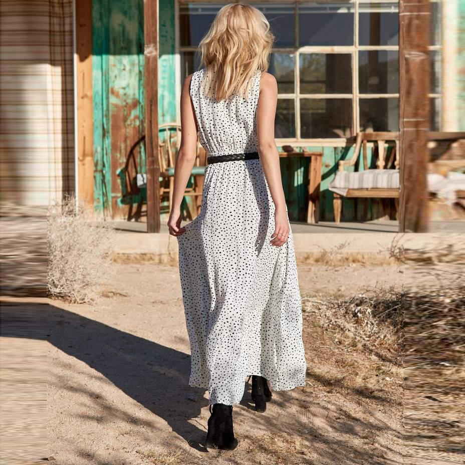 Sexy V Neck Polka Dot Long Dress