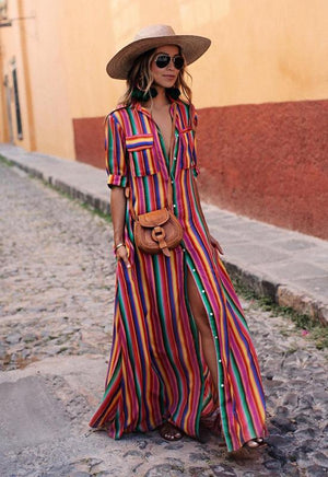 striped long maxi print dress women casual loose shirt print dresses