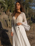 Bohemia Chiffon spliced lace deep V collar Maxi Dress