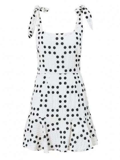 White Scoop Neck Polka Dot Open Back Ruffle Hem Mini Dress