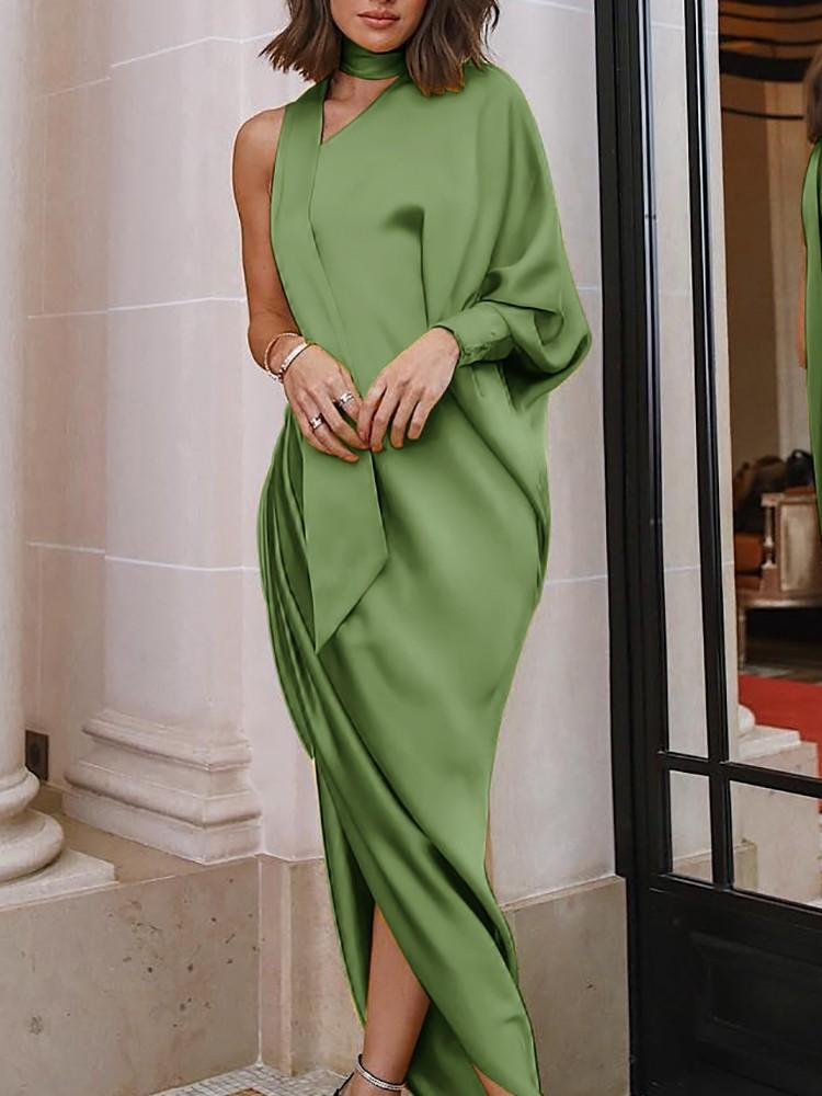 Sexy One Shoulder Scrunch Slit Side Maxi Dress