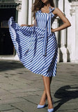 Blue-White Striped Shoulder-Strap Lace-up Sweet Tutu Party Midi Dress