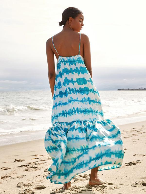 Printed Spaghetti-neck Backless Maxi Dress
