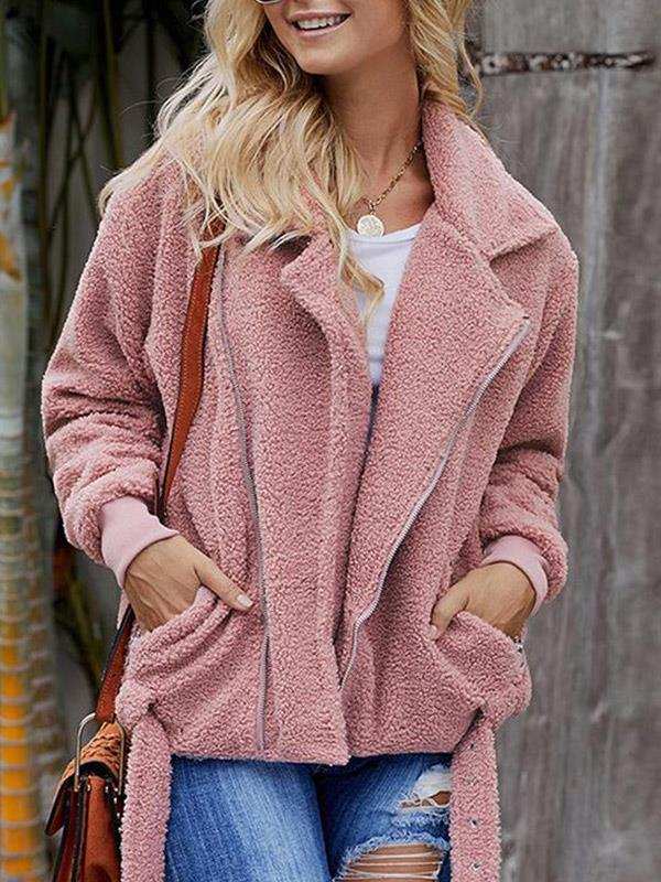 Loose Solid Lapel Long Sleeves Cardigan Jacket