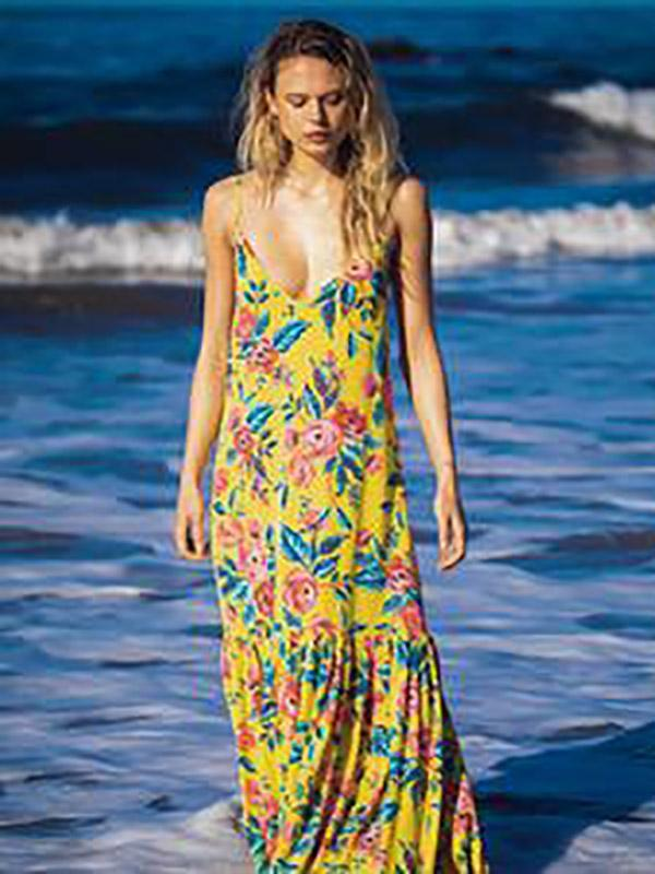 Printed Spaghetti-neck Sleeveless Maxi Dress
