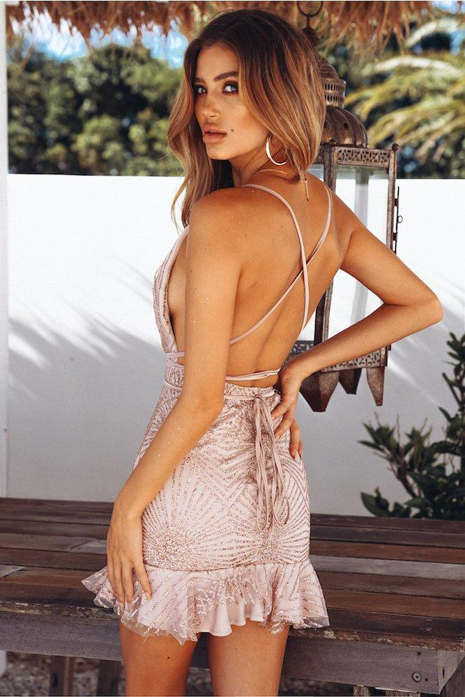 Sexy Backless Nightclub Bright Mini Dress