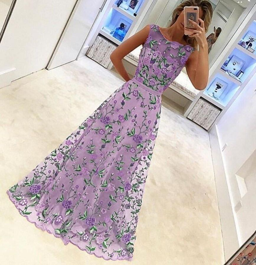 Sexy Embroidery Maxi Evening Dress