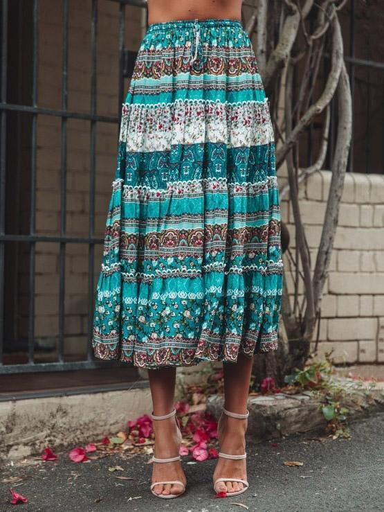 Boho Printed Sleeveless Top + Skirts Suits