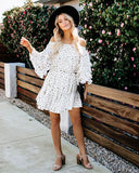 Enchanted Off The Shoulder Polka Dot Mini Dress