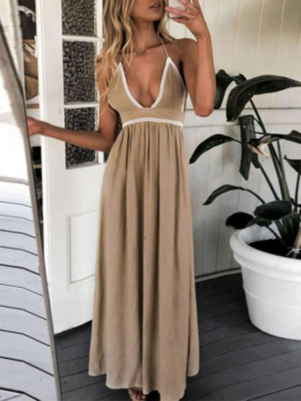 V-neck Solid Color Spaghetti strap Maxi Dress