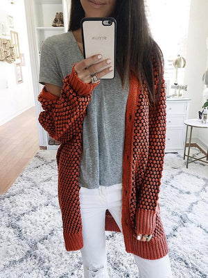 Textured Knit Open Front Long Sleeve Cardigan