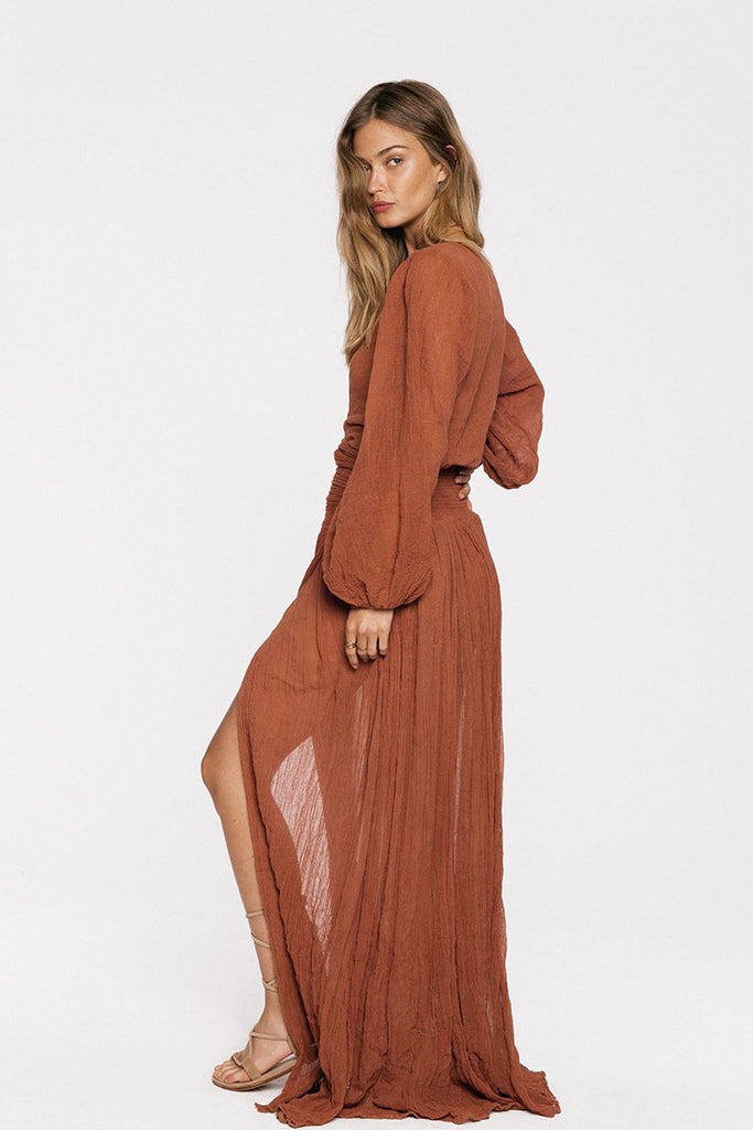 Sexy V Neck Long Sleeves Boho Maxi Dress