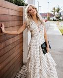 Graciouslyr  Tiered Polka Dot Maxi Dress