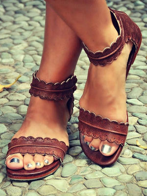 Falbala Open Toe Flat Sandals Shoes