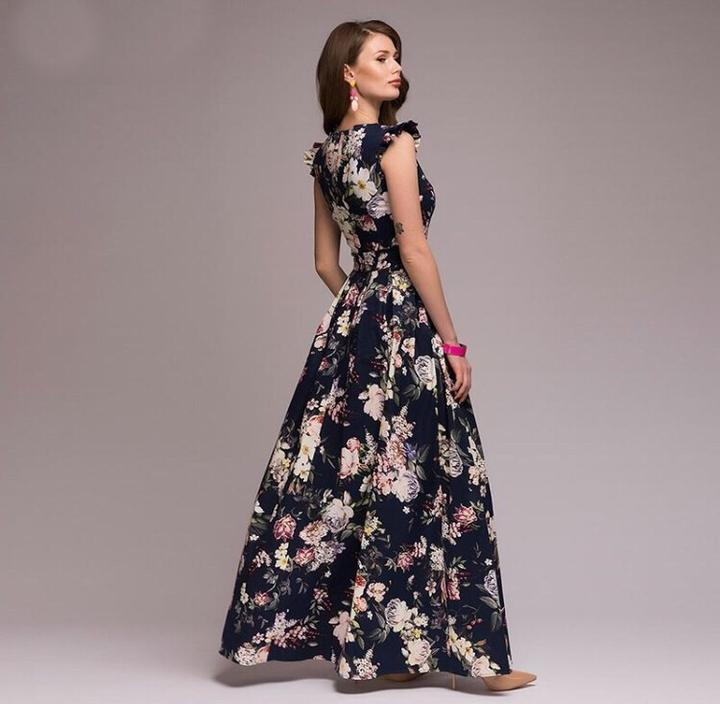 Printed large flower retro waist Maxi Long Dress