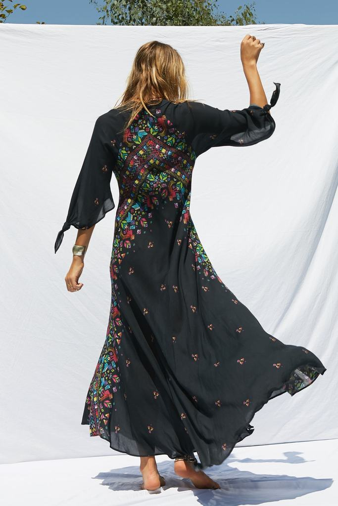 Positioned Print Bohemian Holiday V-neck Seven-sleeve Swing Maxi dress