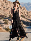 Deep V-neck Embroidered Sleeveless Boho Maxi Dress