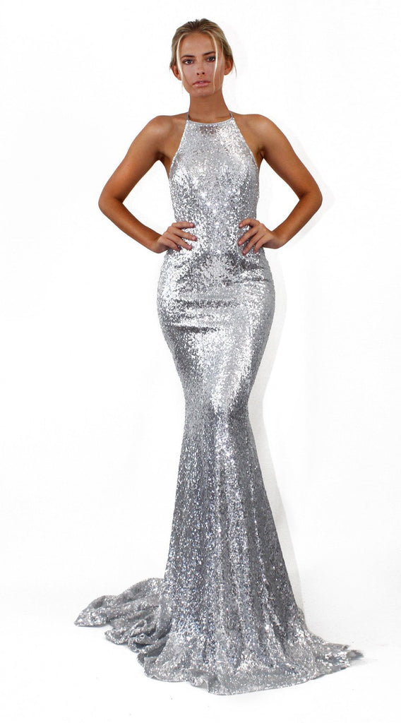 Sparkly Sequined Backless Mermaid Evening Dress