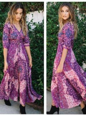 Purple Printing Boho Maxi Dresses