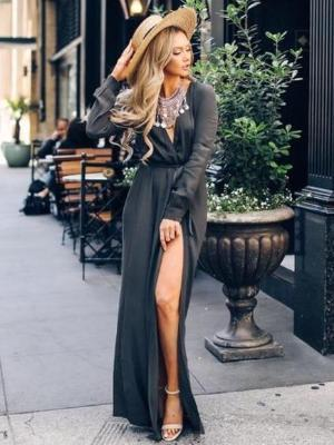 Solid Wrap Slit V-Neck Bohemian Maxi Dress
