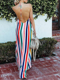 Sexy Backless Rainbow Striped Maxi Dress