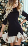 Ruffled Long Sleeve Evening Mini Dress