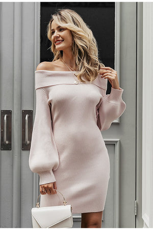 Classic Off Shoulder Sweater Dress