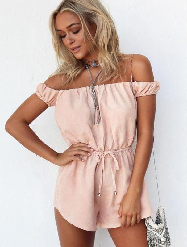 Women sleeveless slash neck summer beach Rompers elastic waist Jumpsuit