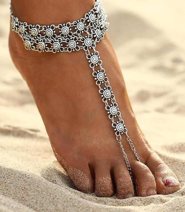 Pattern set finger chain fashion couple anklet beach vacation leisure