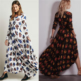 Hot Large Hem Long Sleeve Printed Hook Backless Casual Dress