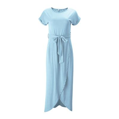 casual women dress o-neck belt short sleeve summer dress long front split dresses