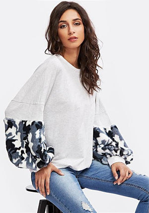 Block  Faux Fur Panel Exaggerate Lantern Sleeve Pullovers