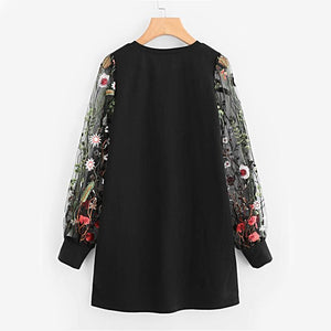 Botanical Embroidered Mesh Sleeve Pullover Elegant Casual