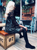 Winter Sexy Lace Women Pleated Velvet Dresses Illusion Sleeve