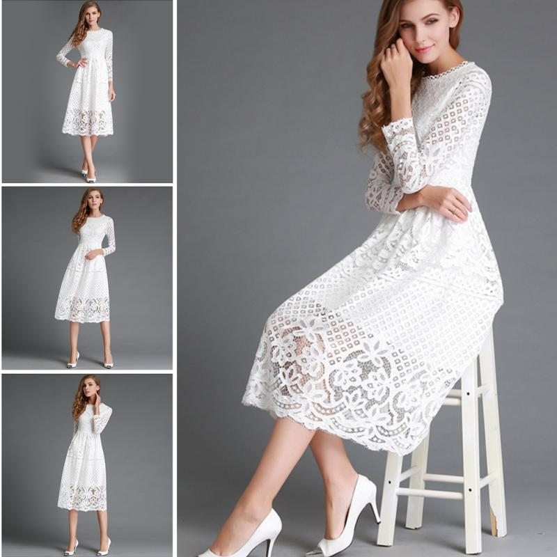 Women Lace hollow out Party Long Sleeve Halter A-Line Dress
