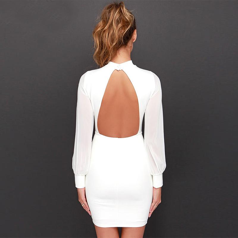 Sexy Bandage Backless Club Party patchwork Dress
