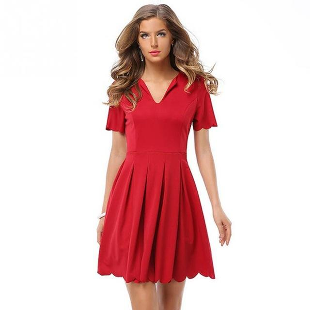 Women Summer Casual V-Neck Short Sleeve Pleated Dress