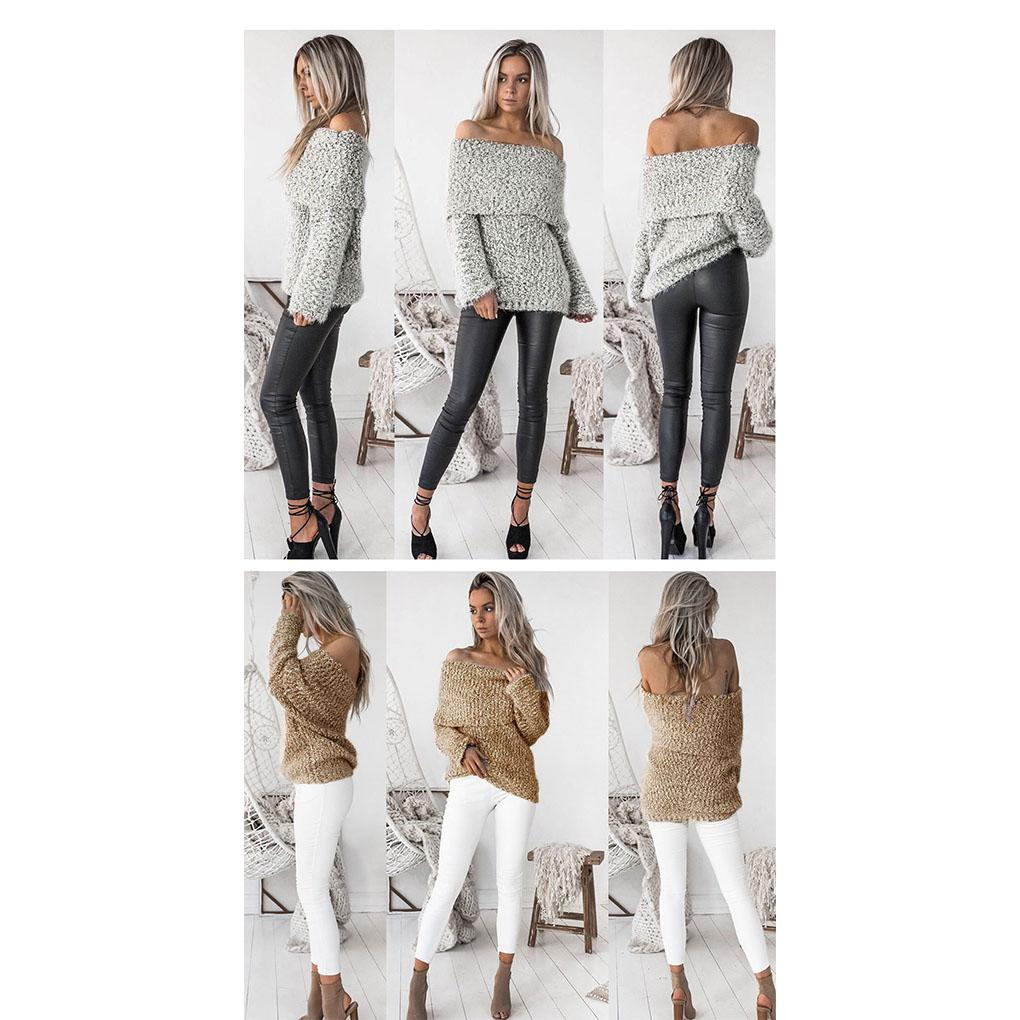 Women Sexy Knitted Long Sleeve Off Shoulder Pullover Sweater