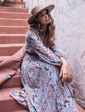 Women Maxi Chiffon Boho Split Long Sexy Elegant V Neck Dress