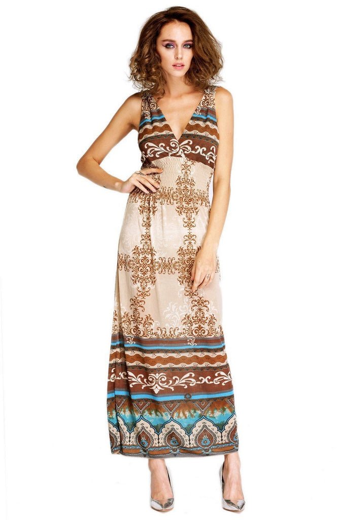Long Maxi Sexy Bohemia Style Apricot V-Neck Dress