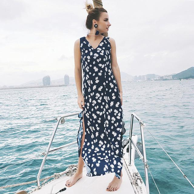 Floral V-neck Side Split Maxi Dresses