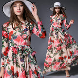 Women Floral Vintage Slim Casual Chiffon boho long Dress