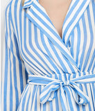 Women Striped A-Line V-Neck Slit Ankle-Length Dress