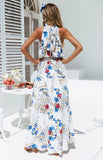 Women Floral Long Maxi Dress Halter  Evening Party Summer Beach Dress