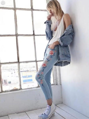 Women Floral Embroidered Jeans Pencil Jeans Bottom