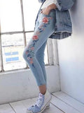 Women Floral Embroidered Jeans Pencil Pants Bottom
