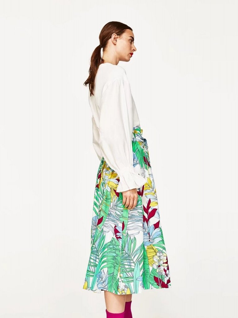 Green Bohemian Long Floral Skirts Maxi Elegant Bottom