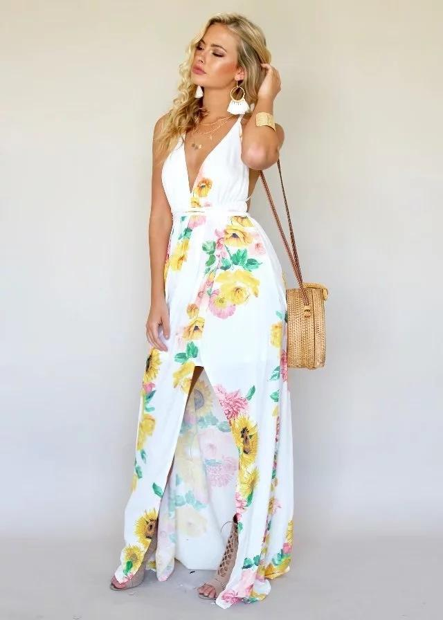Floral White Sexy Strapless Slit Dress