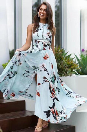 Printed  slit backless shoulders Maxi Dresses